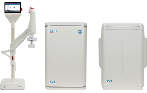 The Milli-Q® IX system includes a compact purification unit (4 flow rate options), tank (25, 50 or 100 L), and E-POD® dispenser